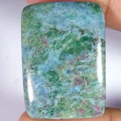 60.40Cts. 100% NATURAL RUBY IN FUCHSITE CUSHION CABOCHON UNTREATED GEMSTONE