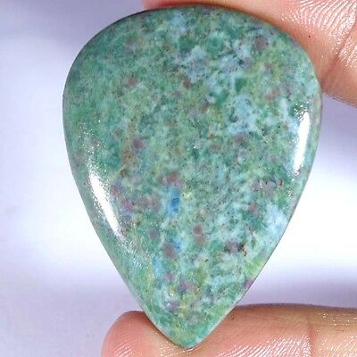 73.90Cts. 100% NATURAL RUBY IN FUCHSITE PEAR CABOCHON UNTREATED TOP GEMSTONE