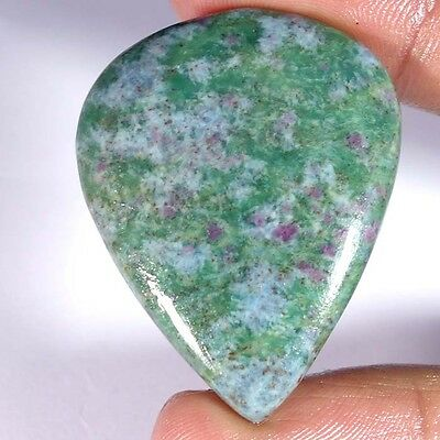 81.70Cts. 100% NATURAL RUBY IN FUCHSITE PEAR CABOCHON UNTREATED TOP GEMSTONE