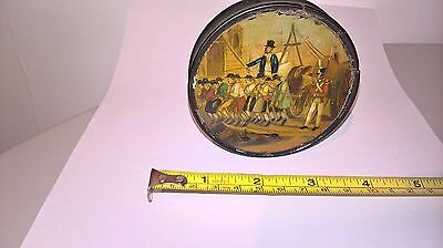Antique Snuff box Hand Painted Convicts Lacquered Papier Mache