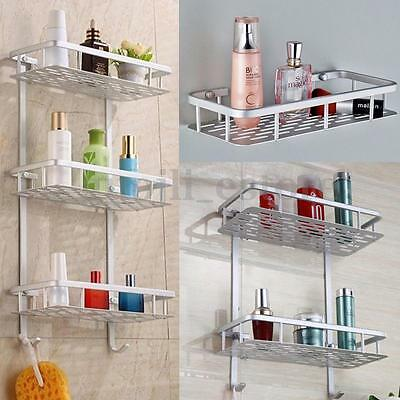 Alumimum 2/3 Tier Bathroom Shower Storage Shelf Caddy Basket Hang Organiser Rack