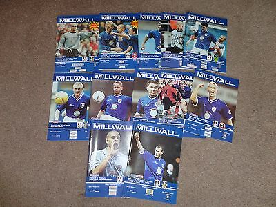 12 Millwall FC 2002/2003 home game programmes in good condition