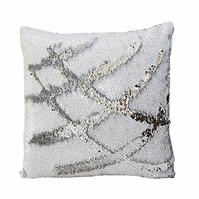 Mermaid Reversible Sequin Cushion With Pillow White and Silver 50 x 50cm