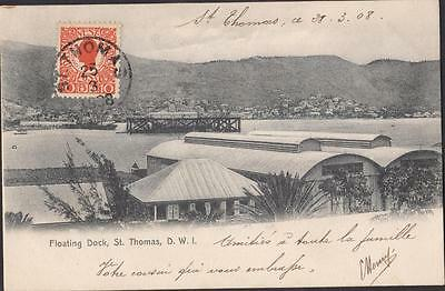 Danish West Indies- Old Postcard St Thomas  To Paris Year 1908