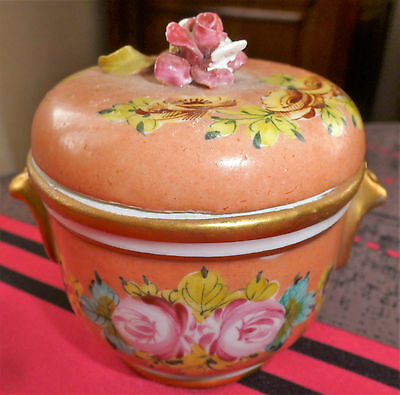 Tres Ancien Pot A Pharmacie En Porcelaine Polychrome Signe Decor Floral