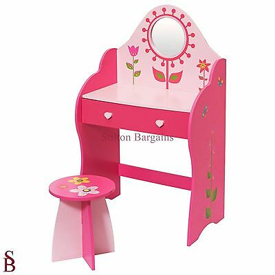 Flower 1 Drawer Dressing Table with Mirror & Stool - Pink - BNIB