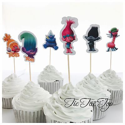 12x Trolls Cupcake Topper Fruit Jelly Cup Toppers *HANDMADE* Party Supplies