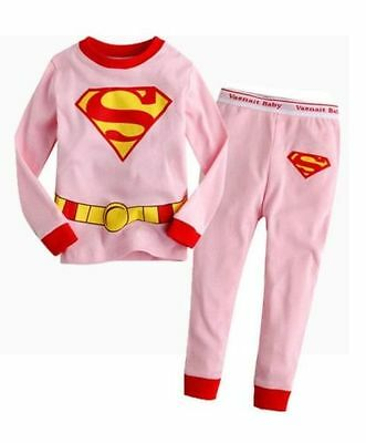Sweet Pink Supergirl Girls Kids Pajamas Sleepwear Pyjamas Cartoon Costume Set 6T