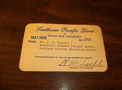 1937/1939 Southern Pacific Company Employee Pass F.c.tighe