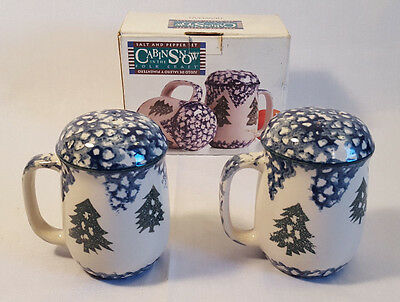 "Tienshan "" Cabin in the Snow"" Handled Salt & Pepper Set 1996 Discontinued"