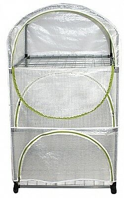 Greenhouse Planting Cart Wire Grid Shelving Gardening Plants PVC Cover Metal