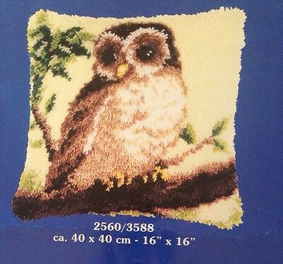"Vervaco Latch Hook Kit OWL Cushion Front started 16""x16"" 40x40cm & Latch Tool"