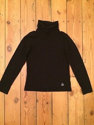 Black Girl's Polo Neck Longsleeve From Benetton - Size L (7-8 Years)