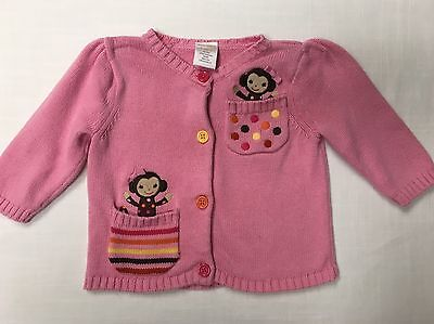 Gymboree Infant Girls Pink Cardigan With Monkey Details Size 3-6 Months