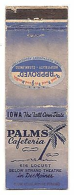 Vintage Matchbook Cover From PALMS CAFETERIA IN DES MOINES, IOWA
