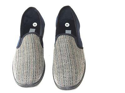 Mens Navy Herringbone Elasticated Twin Gusset Slipper Zedzzz Size Uk 11