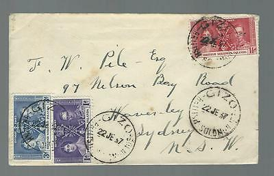 British solomon islands cover 1937 Gizo cancel cover (4193)
