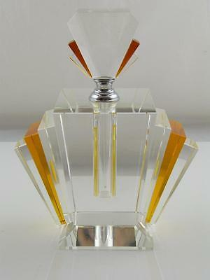 Large Cut Glass Art Deco Scent Bottle With Scent Rod