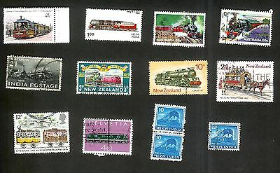 Twelve Train Stamps All Different
