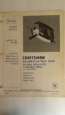 Sears owners manual for Craftsman Reciprocating saw model no. 315.17067