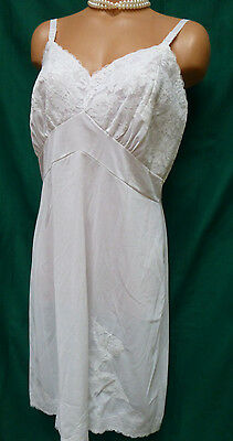 Vintage Nylon Full Slip Silky Nightgown 38 Val Mode Exquisite All Lace Bust
