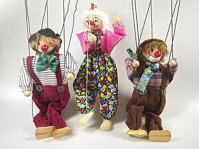 Lot Of 6 String Puppets - With Wooden Heads
