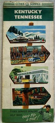 CITIES SERVICE KENTUCKY & TENNESSEE HIGHWAY ROAD MAP 1950s VINTAGE TRAVEL