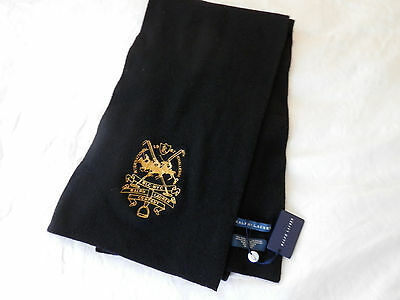Nwt Ralph Lauren Extra Long Scarf/wrap.cashmere & Wool, Polo Rider, Black, $145