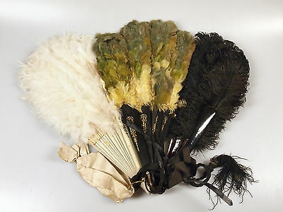 Lot Of 3 Vintage Feather Hand Fans - 1 Green, 1 Black, 1 Cream, For Restoration