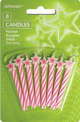 Pink Candles with Stars - /8