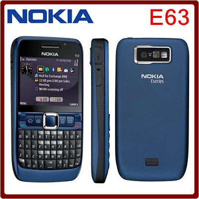 Brand New NOKIA E63 Wifi *3G* Camera Unlocked Mobile Phone Ultra Blue Genuine