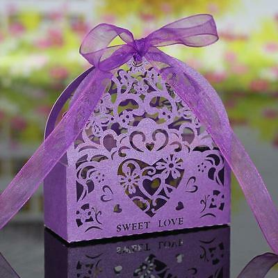20pcs Gift Candy Sweet Boxes Cut Out Sweet Heart Bridal Wedding Favor Purple