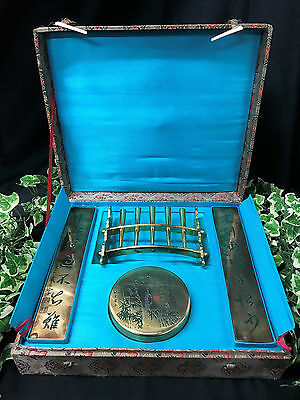 Beautiful Rare Vintage Brass Oriental Chinese Cased Calligraphy Writing Set