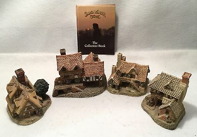 4pc Handcrafted DAVID WINTER COTTAGES Instant Collectors Lot - c.1983-85 w/ Book