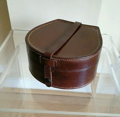 Vintage Leather Collar Box .Horse Shoe shape .Brown Leather / Yellow insert
