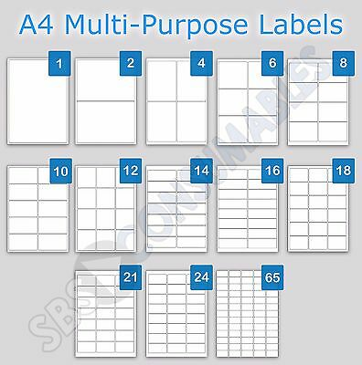 Printable Address Labels A4 Plain White Sticky Self-Adhesive Laser Copier InkJet