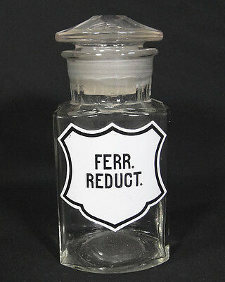 Victorian Apothecary Pharmacy Medical Glass Bottle Ferrum Reductum ~Reduced Iron
