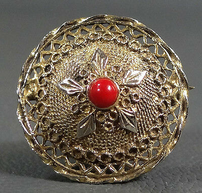 Deco Italian Gold Sterling Silver Cherry Red Amber Coral Bead Shield Brooch Pin