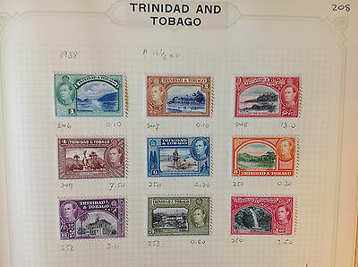 Trinidad and Tobago 1938 SG246-54 MH and USED stamps on pages