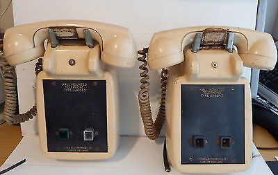 2 Vintage 1930 wall mounted no dial telephones UA 6063 made by ULTRA ELECTRONICS