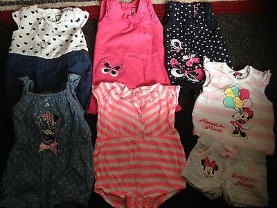 Baby Girls Summer Bundle 0 - 3 Months 5 Rompers & Shorts And T Shirt Set Disney