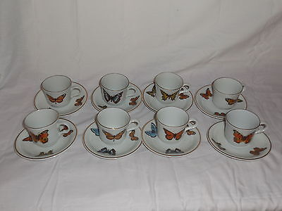 Stunning Set of 8 Bavaria Jaeger E&R Demitasse Cups and Saucers BUTTERFLIES