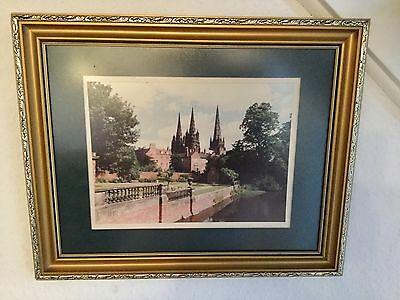 LICHFIELD CATHEDRAL - LOVELY FRAMED COLOUR PRINT - 45 X 37cms