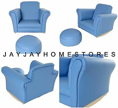 Baby Blue Boys Leather Look Rocking Armchair Footstool & Seat - 5+ years