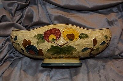"H.J.WOOD pottery,INDIAN TREE(701) handpainted 12"" boat/planter/ vase"