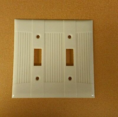 VTG Ivory EAGLE Art Deco ribbed Bakelite Double toggle Switch plate Cover