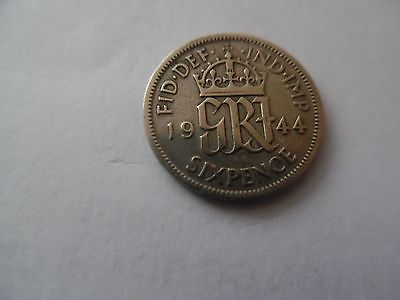 RARE L@@K 2nd WORLD WAR 1944 SILVER SIXPENCE COIN VINTAGE CRAFT TOPPER BIRTHDAY