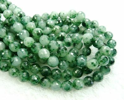 UKcheapest-green spots jade round & faceted 4 6 8 10 12mm gemstone beads