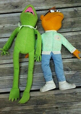 Vintage Fisher Price Toys Kermit The Frog & Scooter Dolls Muppets 853 & 850