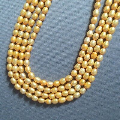 """Lustrous 7mm Golden Rice Freshwater Pearl Beads 15"""""""